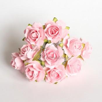Кудрявая роза 2 см, РОЗОВОПЕРСИКОВАЯ