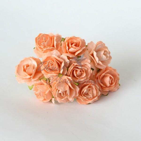 Кудрявая роза 2 см, СВЕТЛО-ОРАНЖЕВАЯ