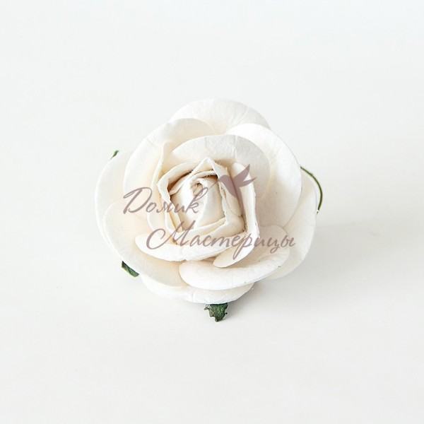Роза 5 см, БЕЛАЯ С ЗАКРУГЛЕННЫМИ ЛЕПЕСТКАМИ, 152